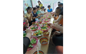 A Chinese CNC machine shop's weekend food party